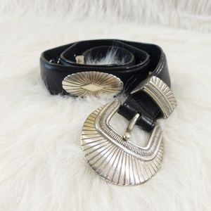 Vintage Onyx Black Leather, Silver Concho Belt